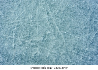 Bad ice at the city rink. Many bands, cuts, cracks.