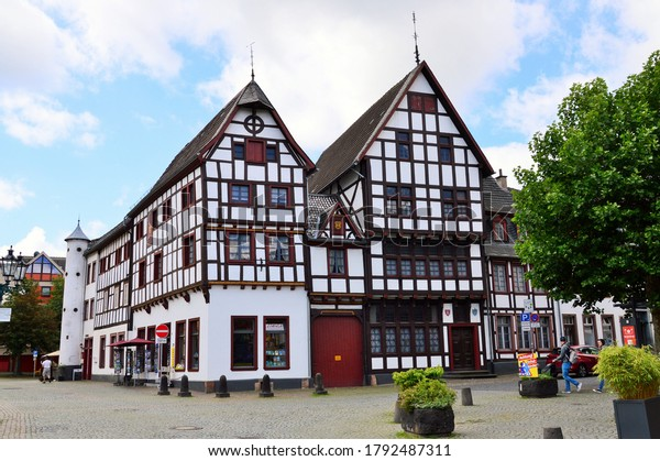 Bad Münstereifel in June 2020, typical houses in the old town