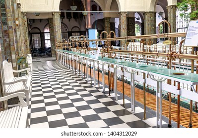 BAD KISSINGEN, GERMANY – AUGUST 23, 2018: Bad Kissingen - Thermal water well pipes Hall - Picturesque world famous health resort at the romantic Franconian Saale in Bavaria.