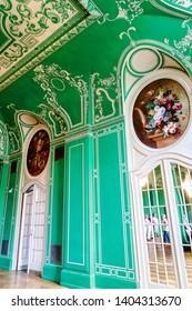 BAD KISSINGEN, GERMANY – AUGUST 23, 2018: Bad Kissingen Regentenbau - The elegant Green Hall. Picturesque world famous health resort at the romantic Franconian Saale in Bavaria.