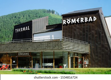 Bad Kleinkirchheim, Austria - June 29, 2019: Wooden building of Romerbad thermal bath resort at small town in Carinthia. Facade of Roemerbad Medicinal spa with saunas and hot springs in Alps hills