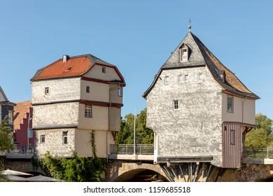 Bad Kreuznach, Brueckenhaeuser, Germany under blue sky