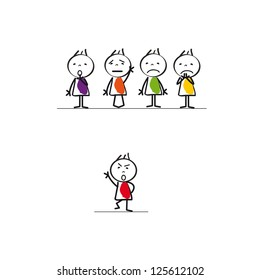 Bad leader group, abstract business concept with kids cartoon