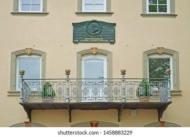 Bad Mergentheim, Germany - June 11th, 2019: Historic house in Bad Mergentheim at the Romantic Road in Germany, with a plaquette that Ludwig von Beethoven worked here in 1791