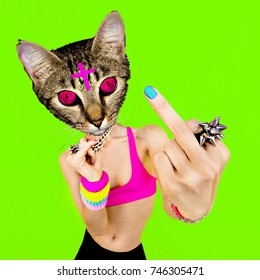 Bad Pussy Cat. Contemporary art collage. Aggression and swag  Fashion design