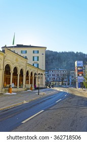 BAD RAGAZ, SWITZERLAND - JANUARY 5, 2015: Spa house. Bad Ragaz is a city in canton St. Gallen in Switzerland.  It lies over Graubunden Alps. Spa and recreation village is at the end of Tamina valley