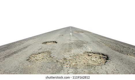bad road cracked and damaged isolated