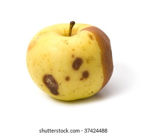 Bad rotten apple isolated on white background
