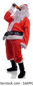 Bad santa drunk drinking out of beer bottle isolated on a white background