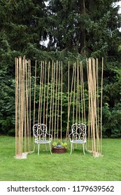 Bad Schwalbach, Hessen, Germany/June 17, 2018: A pair of garden chairs at the Garden Show