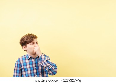 bad smell, stink, squeamishness,  repulsion. boy with disgusted face expression covering nose