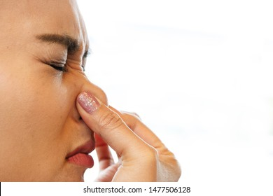 bad smell, woman close the nose, halitosis healthcare concept