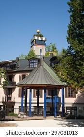 BAD SODEN, GERMANY-JULY 16, 2015:Gazebo with Hundertwasser Haus.