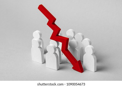 Bad team work, failure in business. The fall in profits and growth indicators. Group of workers and  pointing down arrow. Concept