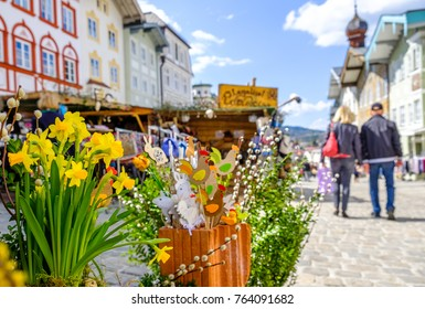 BAD TOELZ, GERMANY - APRIL 10: traditional easter market with kiosks in the old town on April 10, 2017 in Bad Toelz, Germany