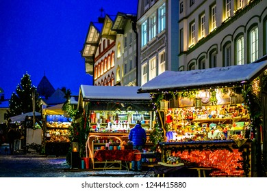 BAD TOELZ, GERMANY - DECEMBER 4: people at the famous christmas market on December 4, 2017 in Bad Toelz, Germany