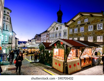 BAD TOELZ, GERMANY - DECEMBER 5: people at the famous christmas market on December 5, 2016 in Bad Toelz, Germany