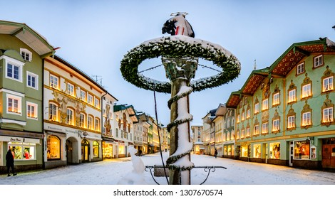 Bad Toelz, Germany - January 5: the famous old facades with historic murals in the old town on January 5, 2019 in Bad Toelz, Germany