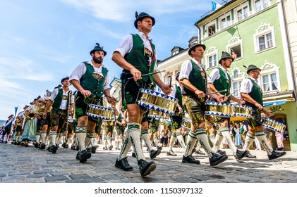 Bad Toelz, Germany - July 29: pageant with typical bavarian costumes at the gaufest in the historic town on july 29, 2018 in Bad Toelz, Germany