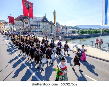 BAD TOELZ, GERMANY - JUNE 15 - People in traditional clothes at the Corpus Christi procession at June 15, 2017 in Bad Toelz - Germany.