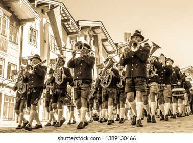 Bad Toelz, Germany - September 15: Participants in a parade on the occasion of the 150th anniversary of the Voluntary Fire Brigade on September 15, 2018 at Bad Toelz