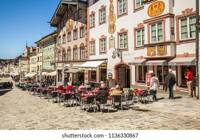 BAD TOLZ, GERMANY - May 10, 2017 Historic medieval town Bad Tolz. Bavaria