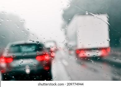 Bad Weather Driving - Traffic Jam on an Expressway (Motorway)