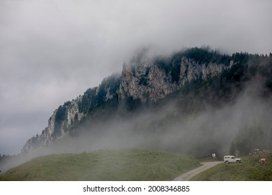 bad weather and fog on mountain named Rote Wand near Fladnitz on Teichalm in Styria, Austria