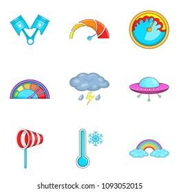 Bad weather icons set. Cartoon set of 9 bad weather icons for web isolated on white background