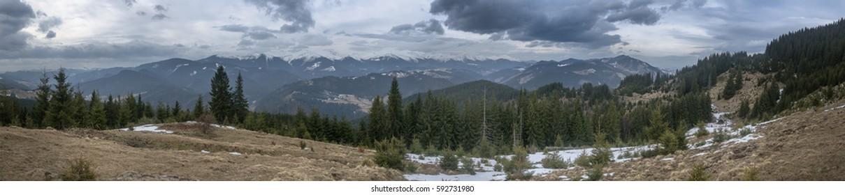 Bad weather on Chornohora ridge. Carpathians. Spring. March.