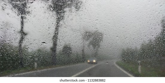 Bad weather on the morning road.