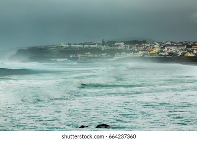 Bad weather on the north coast of Sao Miguel Island, the Azores archipelago in the Atlantic Ocean belonging to Portugal