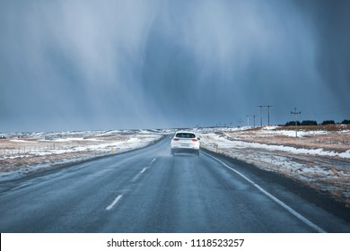 Bad weather at route 1 road south Iceland. Winter scene with snow, ice and precipitation.