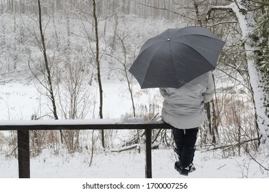 Bad weather and single woman. Woman with umbrella sitting on a snowy bench on the background of a forest