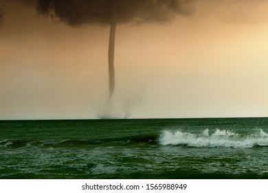 bad weather and storm with the wind on the sea. tornado over the ocean, nature force background - huge tornado, bright lightning in dark stormy sky