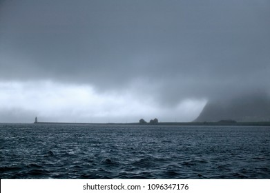 bad weather,rain and storm in the norwegian fjords near Aalesund