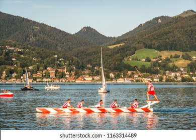 Bad Wiessee, Germany - August 18: Bavarian competition of two groups with rowboats at a summer festival called Fishermen Joust in Bad Wiessee at august 18, 2016
