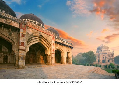 Bada Gumbad and Sheesh Gumbad Complex at early morning in Lodi Garden Monuments, Delhi, India