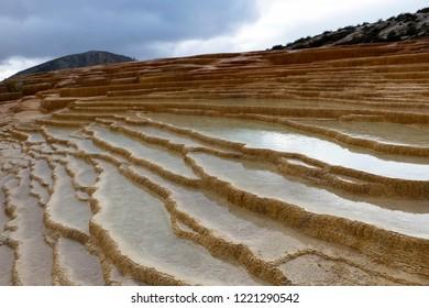 Badab-e Surt travertine Terraces, UNESCO world heritage site, Iran