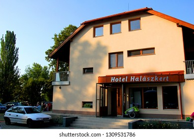 Badacsony, Hungary, 17 august, 2018: Hotel Halászkert Badacsony is located in Badacsonytomaj, 150 metres from the lake Balaton