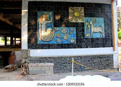 Badacsony, Hungary, 17 august, 2018: mosaic restoration with mermaid and goat in Badacsony