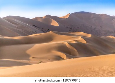 Badain Jaran  Desert in Inner Mongolia, China, the third  largest desert in China, with the tallest stationary dunes on Earth and100 spring-fed lakes between the dunes