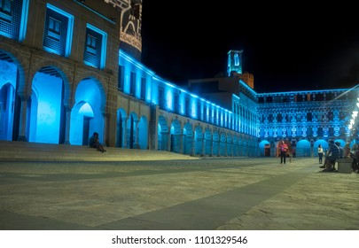 Badajoz, Spain - August 26th, 2017: Night life at Hight square or Plata Alta in summertime, Badajoz, Spain