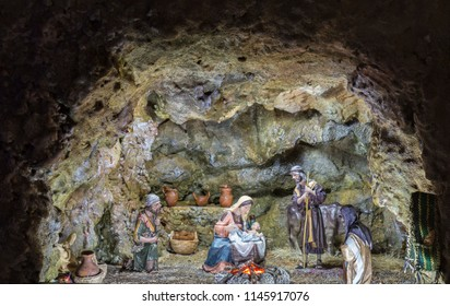 Badajoz, Spain - December 2017: Christmas Nativity scene in a cave. Built by Local Association of Friends of Cribs of Badajoz