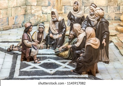 Badajoz, Spain - December 2017: Christmas Nativity scene. The Boy Jesus at the Temple. Built by Local Association of Friends of Cribs of Badajoz