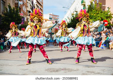 Badajoz, Spain - february 15, 2015:Performers take part in the Carnival parade of comparsas at Badajoz City.