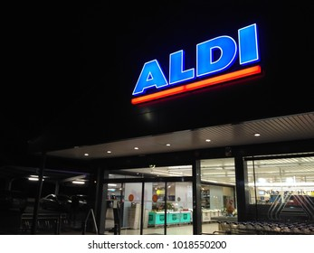 Mérida, Badajoz, Spain.  February 3, 2.018: The sign outside of Aldi Supermarket at night. Aldi is a global germany supermarket chain