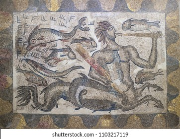 Badajoz, Spain - June 1, 2018: Roman mosaic depicting Triton, son of Neptune, belongs to Central Baths of La Cocosa Roman Villa, Badajoz