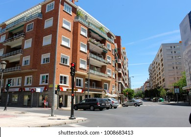 BADAJOZ, SPAIN - May 11, 2014: Streets and buildings of Badajoz, a city in Extremadura, western Spain