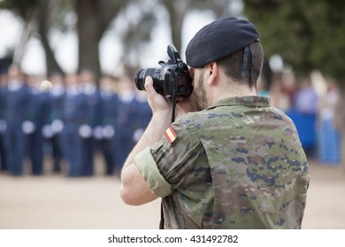 Badajoz, Spain - May 25, 2016: spanish troops during the Armed forces day. Journalist soldier